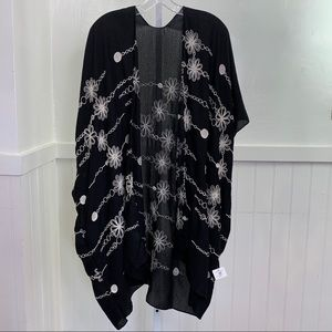 Apricot Lane Black Floral Embroidered Cardigan|S/M